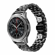 Gear S3 Frontier Classic Watch Band VIGOSS Black Stainless Strap Butterfly Clasp