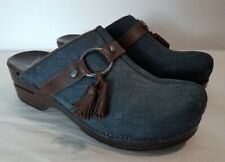 Dansko Shandi Womens Clogs Mules Navy Blue Size EUR 40  US 7 Leather Tassel