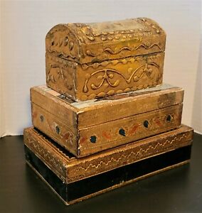 Vintage Shabby Italy Gold Florentine Wood Wooden Trinket Dome Jewelry Box Set 3