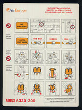 AIR EUROPE Airbus 320 Italian airline SAFETY CARD no Alitalia sc337 aa