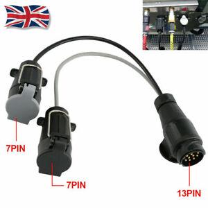 13 Pin to 7 Pin Adaptor Trailer Extension Lead Caravan Towing Socket Plug UK