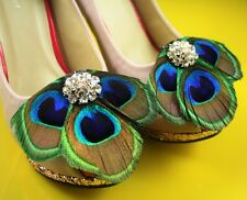 52b4-5 fashion crystal peacock feather shoe clip two pieces(1 pair) lhf131014