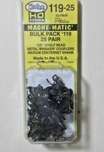 Kadee Number 119-25 - Bulk Pack 25 pair 119 Shelf Head Metal Couplers: HO Scale