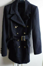 Redherring Debenhams Double Breasted Belted Navy Coat Gold Toned Buttons Size 8