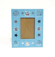 """Blue & Silver Baby Boy Photo Frame Holds 2x3"""" Picture Rocking Horse Blocks"""