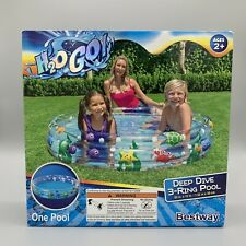 """New listing Bestway H2O Go Deep Dive 3-Ring Inflatable Kid Swimming Pool 60"""" x 12"""" 74 Gallon"""