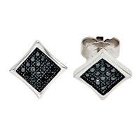 Ohrstecker Ohrringe 925 Silber mit Zirkonia schwarz Ohrschmuck modern Damen
