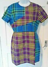 WOMEN'S DESIGNER DRESS HOUSE OF HOLLAND PATCHWORK TARTAN DRESS UK 14