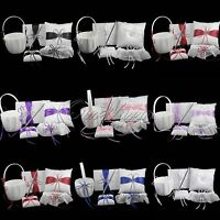 5pcs Wedding Flower Basket + Guest Book Pen Set + Ring Pillow +Garter Set Decor