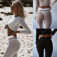 Hot Women Bikini Hollow Knitted Swimsuit Top+Pants Suit Beach Cover up Plus size