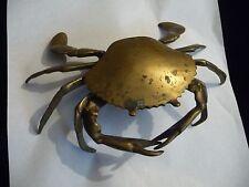 #426 vtg solid brass crab As Is Need Polishing Usedas Ashtray 8'' L x 5 1/2''W