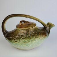Vintage 1940 ART DECO McCOY POTTERY TEAPOT Brown Green DAISY Flowers