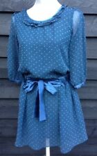 Ladle's/ Women's Blue Dress Top With Pink Hearts Size – M by Ringnor  A1