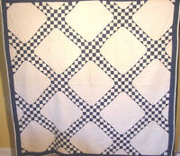 CLASSIC INDIGO CHAIN ANTIQUE QUILT 1880S NEAR MINT