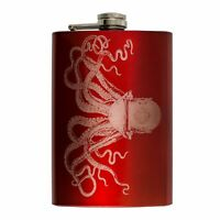 8oz RED Steampunk Octopus Flask L1