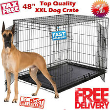 "Extra Large Dog Crate Kennel 48"" 2 Doors Metal ABS Tray Pan XL XXL Folding Cage"
