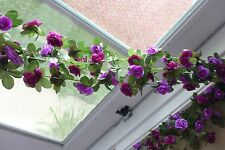 "Set of 4 Length 90"" Purple Artificial Hangings Small Flowers Vine Garland"
