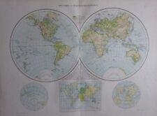 1893 LARGE ANTIQUE MAP ~ WESTERN & EASTERN HEMISPHERES EUROPE AFRICA AMERICAS