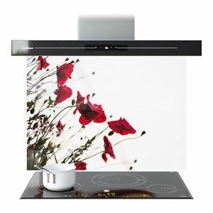 Splashback Kitchen Toughened Glass Heat-R ANY SIZE Poppy Flower Poppies p111166