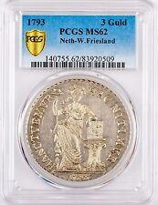 1793 Netherlands 3 Gulden West Friesland MS62 PCGS Bright White