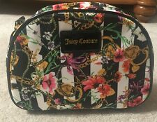 Juicy Couture Cosmetic Bag Black Floral Neon Pink Inside $42 NEW