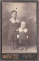 1910s CDV Cute little girl & baby boy brother sister kids Russian antique photo