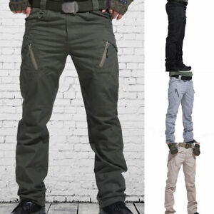 Mens Tactical Trousers Soldier Fishing Cargo Hiking Casual Pants Combat Outdoor