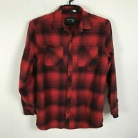 Ninth Hall Flannel Shirt Mens Size L Red Black Lumberjack Plaid Long Sleeve