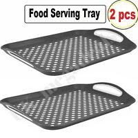 2Pcs Food Serving Tray Anti-Slip Plastic with Rubber Grip Kitchen Dinner Surface