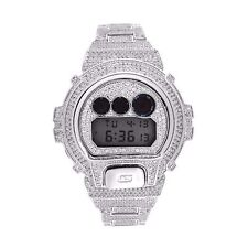 Custom CASIO GSHOCK DW6900 FULL ICED OUT 14k White Gold Plated Lab Diamonds 15CT