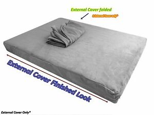 "Gray Durable Luxury Soft Suede Gusset Dog Bed Duvet Zipper Cover Case 47""x29""x4"""