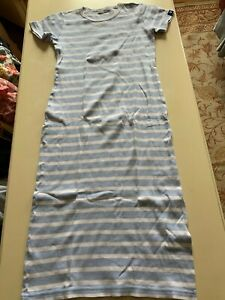 Girls Armor-kids blue and white striped bodycon cotton summer dress, 12 years