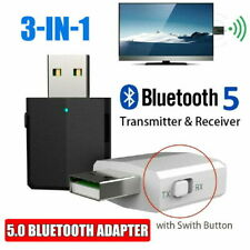 3 in 1 USB Bluetooth 5.0 Audio Transmitter/Receiver Adapter For TV/PC/Car White