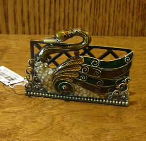 Welforth Pewter Business Card Holder #H263 SWAN, NEW/Box From Retail Store