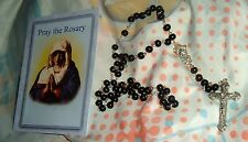 FIRST COMMUNION ROSARY BLACK with Pray Rosary Booklett NEW in Clamshell  Catholi