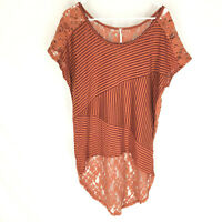 FREE PEOPLE Blouse Top Size Medium Orange Lace Floral Short Sleeve Boho Hi Low