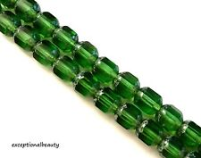 25 Presiosa 8mm Kelly Green Stone Look Ends Faceted Cathedral Czech Glass Beads