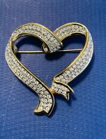 Swan Signed Swarovski Austrian Crystal Jewelry Heart Brooch Gold Tone