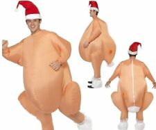 Adults Inflatable Christmas Roast Turkey Costume + Hat Fancy Dress One Size