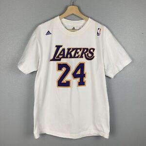 Kobe Bryant #24 Los Angeles Lakers White Adidas Jersey Style T-Shirt Men's Large