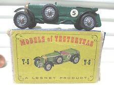 Lesney Matchbox 1958 Models of Yesteryear Y5 Green '29 LeMans Bentley RivetAxles