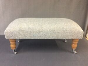 Footstool upholstered in A top quality grey mix fabric