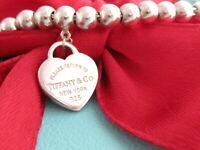 """Tiffany & Co Sterling Silver 925 Heart Return To Bead Bracelet 7"""""""