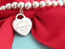 """Tiffany & Co Sterling Silver 925 Heart Return To Mini Bead Bracelet 7.5"""""""