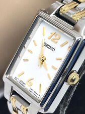 Seiko Women's Watch Two Tone Stainless Steel 1N01-0FH0 Quartz White Dial