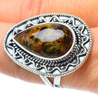 Large Golden Pietersite 925 Sterling Silver Ring Size 8.5 Ana Co Jewelry R31974F