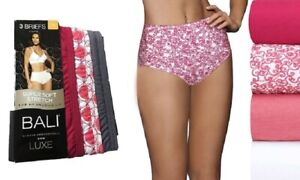 Bali Luxe Super Soft Stretch Cotton Briefs Panties with a Plush Waistband 3-Pack