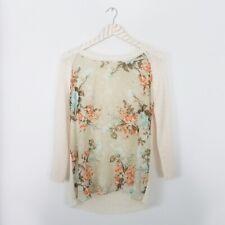 Zara Floral Panel Front Knit Beige Sweater