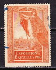 BRUSELLS BELGIUM WORLD EXHIBITION 1910~  LARGE  POSTER STAMP ~TOPICAL