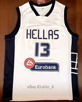 Giannis Antetokounmpo #13 Greece Hellas Men's Basketball Jersey Stitched White